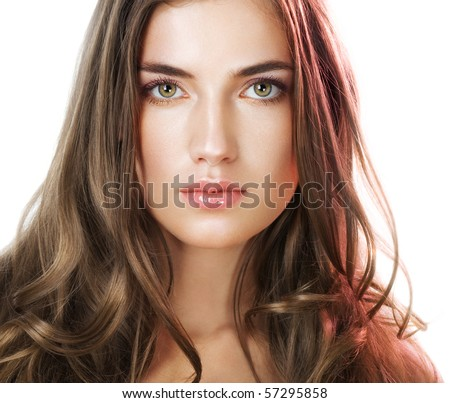 Natural  on Beauty With Perfect Natural Makeup Look And Long Hair Stock Photo