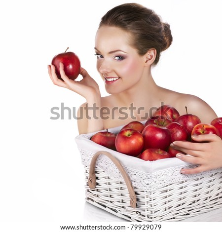 Beauty with red apples
