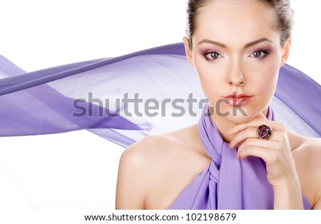 Beauty with ring and violet color scarf