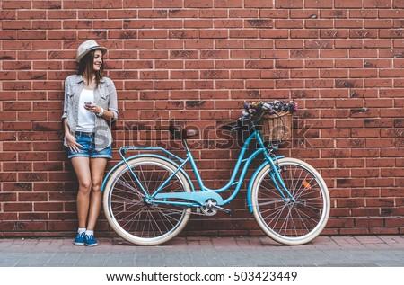 beauty with vintage bike....