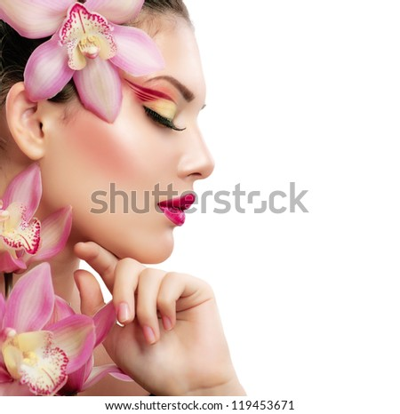 Beauty Woman. Beautiful Model Girl. Isolated on a White Background