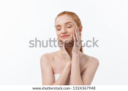 Beauty Woman. Beautiful Young Female touching Her Skin. Portrait isolated on White Background. Healthcare. Perfect Skin. Beauty Face #1324367948