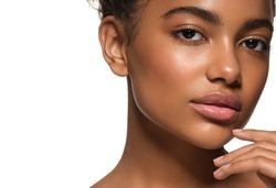 Beauty woman black skin face smile healthy skin female model