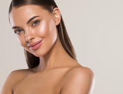 Beauty woman clean healthy skin natural make up spa concept long smooth hair