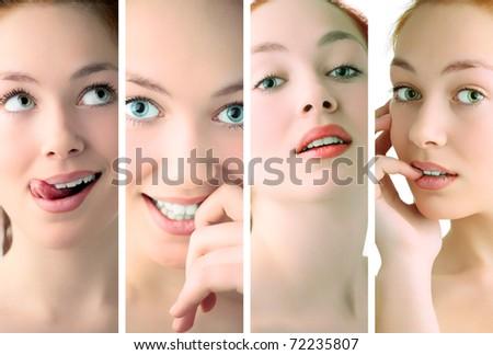 beauty woman closeup portrait over white background