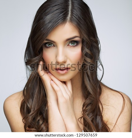 Beauty woman face close up portrait. Female young model. Studio isolated .