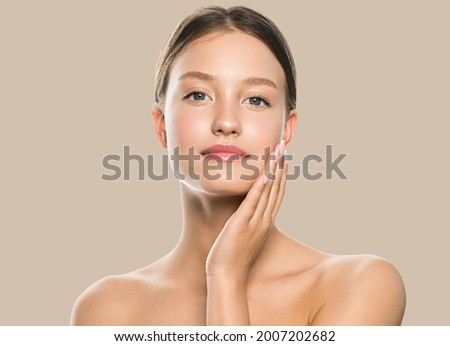 Beauty woman face healthy clean natural beautiful skin care. Female beauty natural make up young model face close up beauty