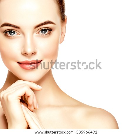 Beauty Woman face Portrait. Beautiful model Girl with Perfect Fresh Clean Skin color lips purple red. Youth and Skin Care Concept. Isolated on a white background