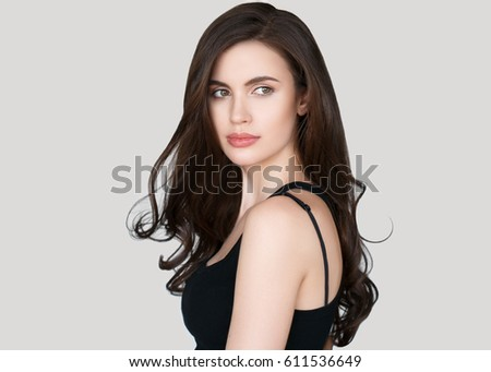 Beauty Woman face Portrait. Beautiful model Girl with Perfect Fresh Clean Skin color lips purple red brunette beautiful hair Youth and Skin Care Concept.