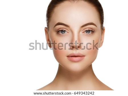 Beauty Woman face Portrait. Beautiful model Girl with Perfect Fresh Clean Skin color lips purple red. #649343242