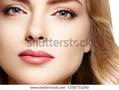 Beauty Woman face Portrait. Beautiful Spa model Girl with Perfect Fresh Clean Skin. Blonde female looking at camera and smiling. Beautiful hairstyle Youth and Skin Care Concept #1100733260