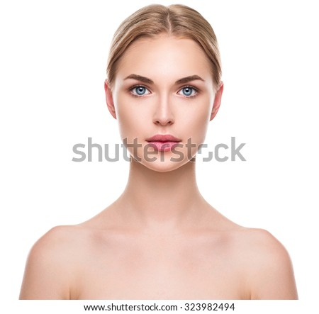 Beauty Woman face Portrait. Beautiful Spa model Girl with Perfect Fresh Clean Skin. Blonde female looking at camera and smiling. Youth and Skin Care Concept. Isolated on a white background #323982494