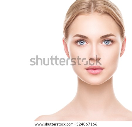 Beauty Woman face Portrait. Beautiful Spa model Girl with Perfect Fresh Clean Skin. Blonde female looking at camera and smiling. Youth and Skin Care Concept. Isolated on a white background #324067166