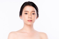 Beauty Woman face Portrait, Beautiful Young Asian Woman with Clean Fresh Healthy Skin, Facial treatment. Cosmetology, beauty and spa, isolated on white background.