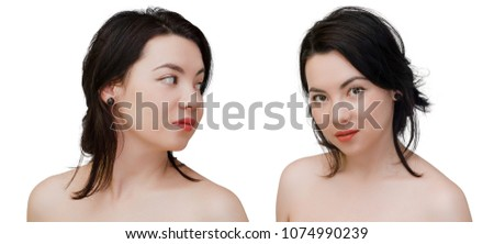 Beauty woman face portrait of mixed race Caucasian Asian female model isolated on white background #1074990239