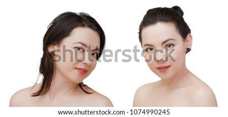 Beauty woman face portrait of mixed race Caucasian Asian female model isolated on white background #1074990245