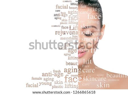 Beauty woman face with word on face showing cosmetology and aesthetic medicine concept. Lifting skin and rejuvenation skin Foto stock ©