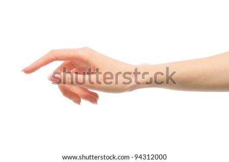 Beauty woman hand with french manicure isolated on white background.