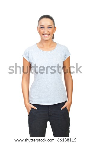 Beauty woman in blank gray t-shirt isolated on white background