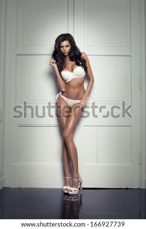 Beauty woman in white underwear