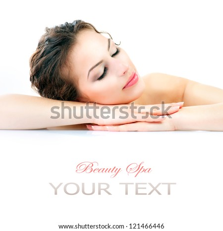 Beauty Woman Lying Down. Spa Girl. Sleeping or Resting Female isolated on White Background. Relax. Relaxation. Beauty Salon. Space For Your Text