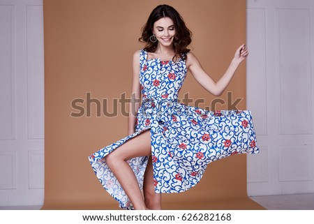 Beauty woman model wear stylish design trend clothing blue cotton dress casual summer style for date meeting walk party long brunette hair lips makeup party businesswoman accessory bag fashion.