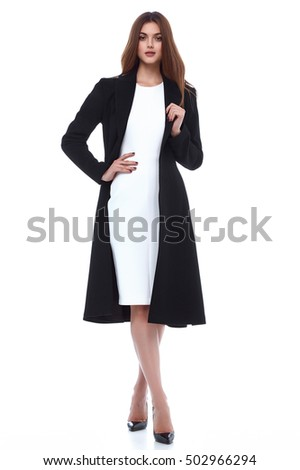 Beauty woman model wear stylish design trend clothing natural organic wool cotton coat trench dress outerwear casual formal office style for work meeting walk party brunette hair makeup  - Shutterstock ID 502966294