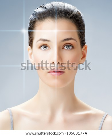 beauty woman on the blue background