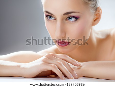 beauty woman on the grey background