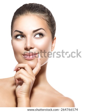 Beauty Woman Portrait. Beautiful Spa Girl thinking and looking Up. Surprised Woman choosing. Isolated on white background. Fresh Clean Skin. Skin Care Concept