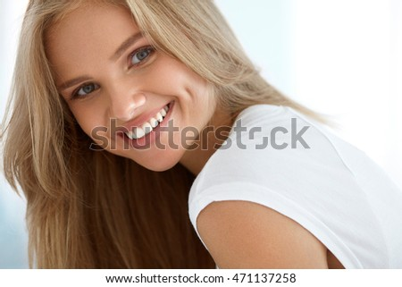 Beauty Woman Portrait. Closeup Of Beautiful Happy Girl With Perfect Smile, White Teeth Smiling At Camera. Attractive Healthy Young Female With Fresh Natural Face Makeup Indoors. High Resolution Image #471137258