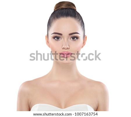 Beauty Woman Portrait. Front view spa model girl headshot. Professional Makeup for Brunette with Brown eyes  Beautiful Fashion Model Girl Face. Perfect Skin. Isolated on a White Background #1007163754