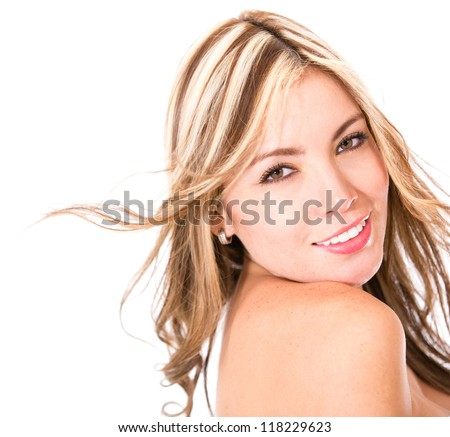 Beauty woman portrait - isolated over a white background