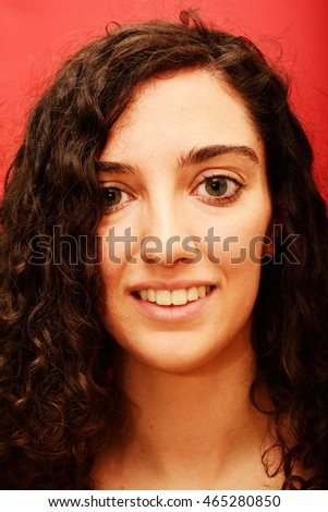 Beauty Woman Portrait Isolated over Black Background - Shutterstock ID 465280850