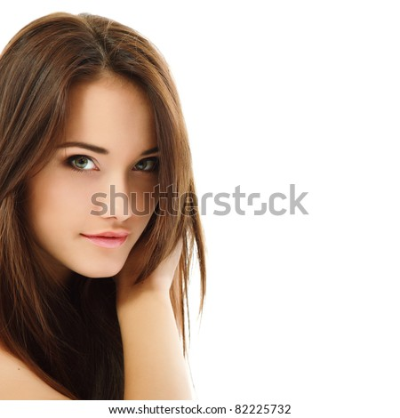 beauty woman portrait of teen girl beautiful cheerful enjoying with long brown hair and clean skin isolated on white background