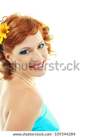 beauty woman portrait of woman with perfect make up and flower in hair