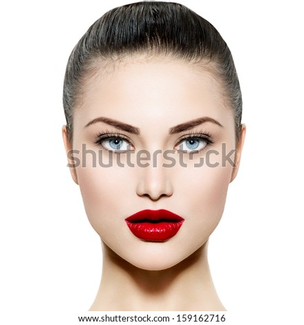 Beauty Woman Portrait. Professional Makeup for Brunette with Blue eyes - Red Lipstick. Beautiful Fashion Model Girl Face. Perfect Skin. Make up. Isolated on a White Background.  #159162716
