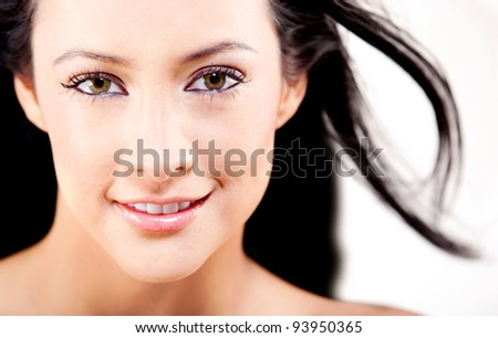 Beauty woman portrait with gorgeous hair - isolated over a white background