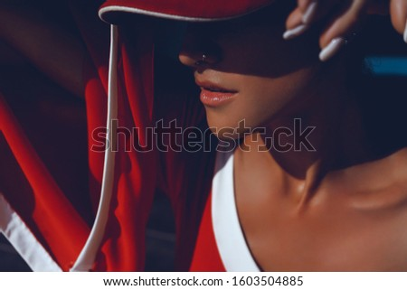Beauty woman posing in the beach, tan skin, outdoor fashion portrait, Thailand,beauty woman posing in the beach, near house, sneakers, red dress, cap, hipster style, hipster style, tennis