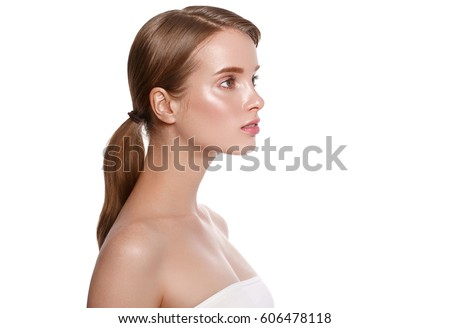 Shutterstock Beauty Woman Profile face Portrait. Beautiful Spa model Girl with Perfect Fresh Clean Skin. Youth and Skin Care Concept