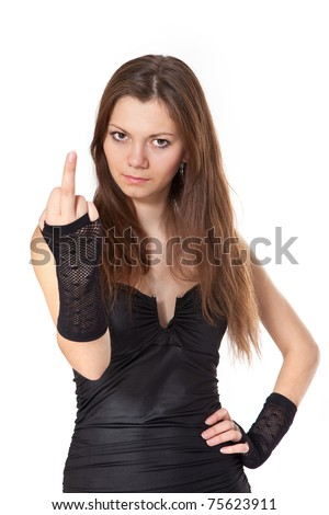 Beauty woman showing middle finger, isolated on white background