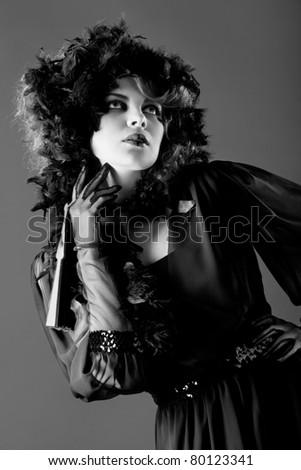 Beauty woman wearing  in old fashioned dress