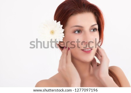 Young Woman Portrait With Chrysanthemum Spa Treatment Free