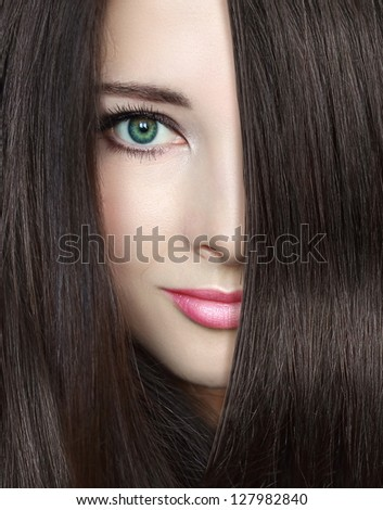 Beauty woman with long smooth hair looking. Closeup portrait