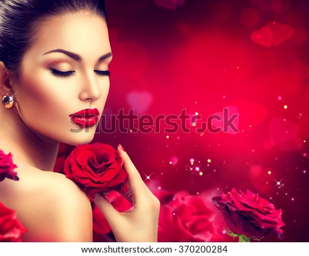 Beauty woman with Red Rose. Valentine. Red Lips and Nails. Beautiful Luxury Makeup and Manicure. Valentine\'s Day border design. Portrait of fashion model girl over blurred red background