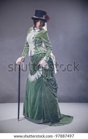 beauty woman with walking stick ...