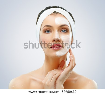 beauty women getting facial mask