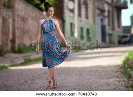 Beauty Women Walking on the street. outdoors shot