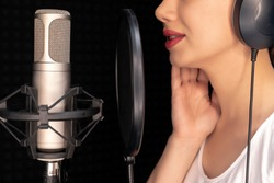 Beauty Young Dubbing Artist Girl In Recording Studio Talking Into Microphone