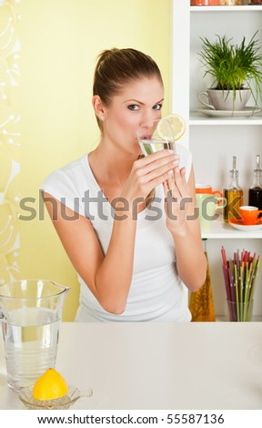 Beauty, young girl drinking water